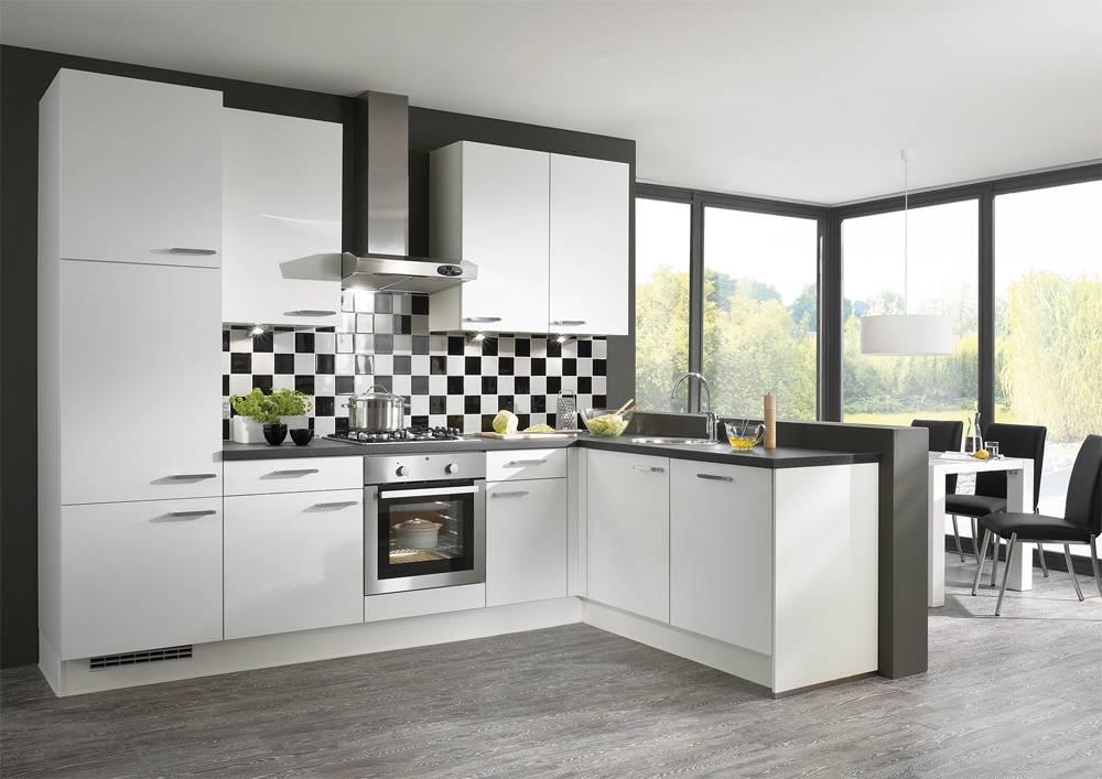Standard apartment modern white kitchen cabinet