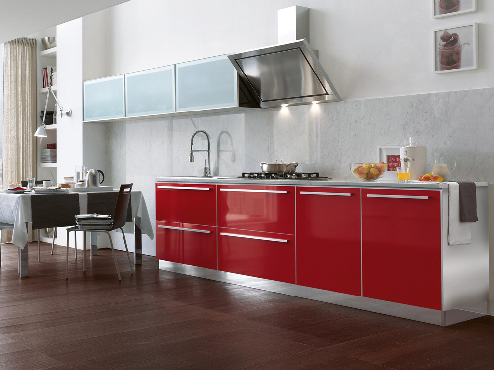 contemporary red acrylic kitchen cabinet for mini apartment